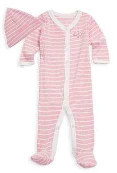 Offspring Baby Girl's Two-Piece Striped Cotton Footie & Hat Set