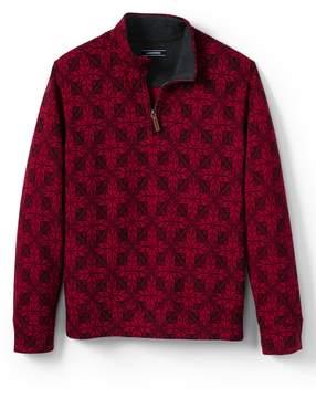 Lands' End Lands'end Men's Bedford Rib Printed Quarter-Zip Mock Pullover
