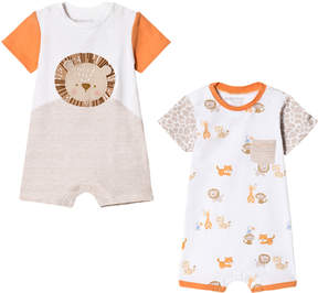 Mayoral Pack of 2 Jungle Orange Animal Print Rompers