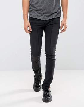 Cheap Monday Tight Skinny Jeans Twisted Black Deconstructed