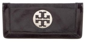 Tory Burch Logo-Embellished Leather Clutch - BLACK - STYLE