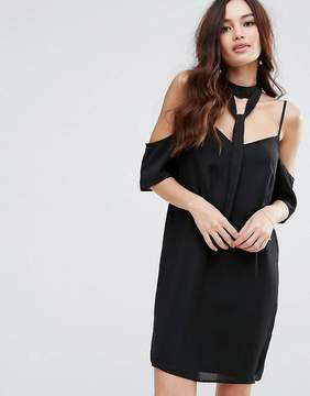 Fashion Union Cold Shoulder Dress With Choker Detail