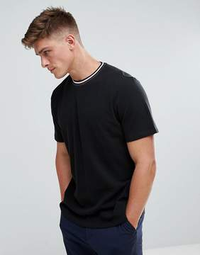 Kiomi Pique T-Shirt With Contrast Collar In Black