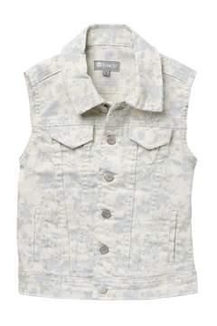 Tractr Floral Print Denim Vest (Big Girls)