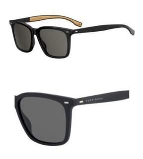 HUGO BOSS BOSS by Men's B0883s Square Sunglasses, Black/Brown Gray, 56 mm