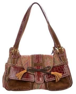 Etro Leather-Trimmed Paisley Shoulder Bag