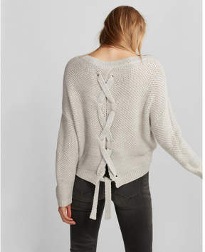 Express lace-up split back sweater