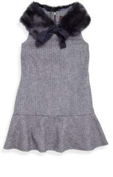 Imoga Toddler's, Little Girl's & Girl's Penelope Two-Piece Houndstooth Dress & Faux Fur Collar Set