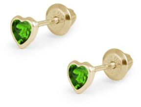 Ice Girls' 14K Gold Solitaire Stud Earrings with Heart-Shaped Green Cubic Zirconia