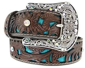 Ariat A1513402-S 1.5 in. Womens Tooled Turquoise Leather Inlay Belt, Brown - Small