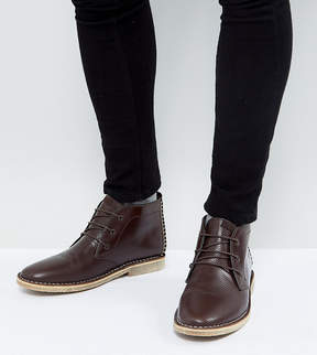 Asos Wide Fit Desert Boots In Brown Leather With Perforated Detail