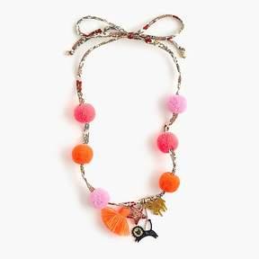J.Crew Girls' fabric pom-pom charm necklace