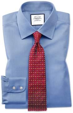 Charles Tyrwhitt Slim Fit Non-Iron Royal Panama Blue Cotton Dress Shirt French Cuff Size 14.5/33