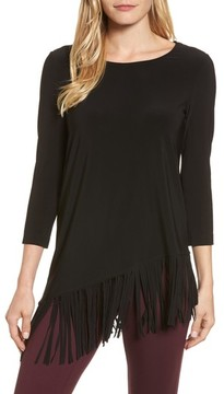 Chaus Women's Asymmetrical Fringe Hem Top