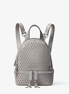 Michael Kors Rhea Mini Perforated Leather Backpack - GREY - STYLE