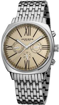 Akribos XXIV Akribos Cream Dial Stainless Steel Men's Watch