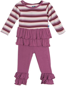 Kickee Pants Kickeepants Girls' Double Ruffle Outfit Set