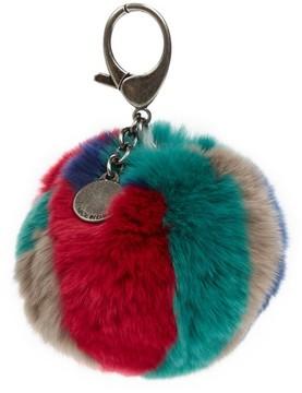 Rebecca Minkoff Genuine Fox Fur Bag Charm - Red