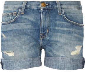 Current/Elliott The Boyfriend Distressed Denim Shorts - Light denim