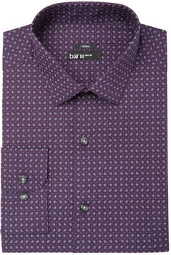 Bar III Men's Slim-Fit Stretch Easy-Care Purple Pine Print Dress Shirt, Created for Macy's