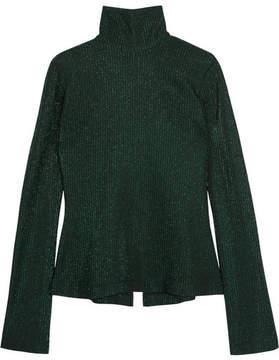 Ellery Gospel Ribbed Metallic Stretch-knit Turtleneck Sweater - Green