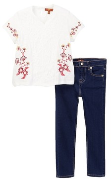7 For All Mankind Embroidered Tee & Skinny Jean Set (Toddler Girls)