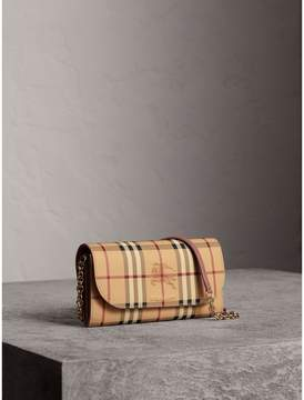 Burberry Leather Trim Haymarket Check Wallet with Chain