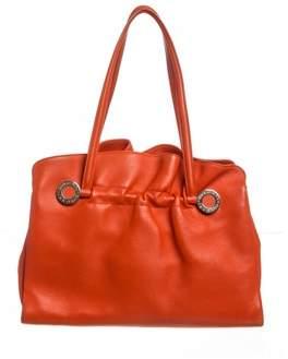 Bvlgari Orange Leather Twist Shoulder Bag.