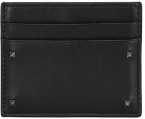 Valentino Rockstud Leather Credit Card Holder