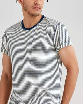 7 For All Mankind Short Sleeve Stripe Crew in Ecru Navy Stripe