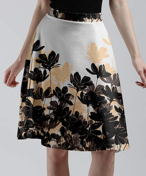 Lily White & Black Floral Silhouettes A-Line Skirt - Women & Plus