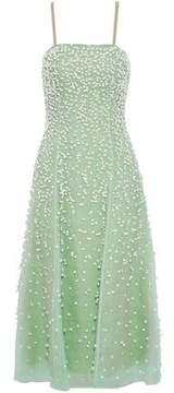 Carolina Herrera Floral-Appliquéd Silk-Organza Midi Dress