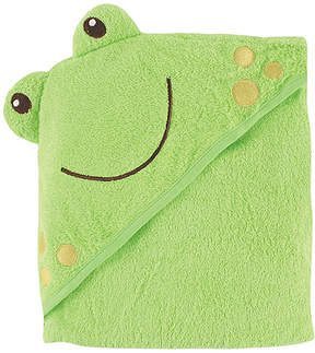 Luvable Friends Green Frog Terrycloth Fleece Hooded Towel