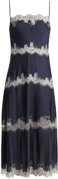 Carine Gilson Tiered lace-trimmed silk-satin cami dress