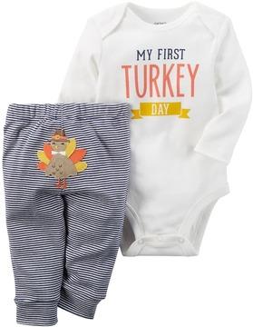 Carter's Baby My First Turkey Day Thanksgiving Bodysuit & Turkey Applique Bottoms Set