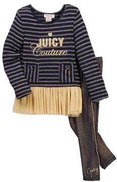 Juicy Couture Lurex Knit Ruffle Mesh Bottom Tunic & Gold Piping Leggings Set (Toddler Girls)