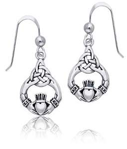 Celtic Bling Jewelry Knotwork Claddagh Sterling Silver Dangle Earrings.