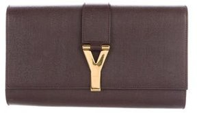 Saint Laurent Textured Leather Chyc Clutch - BROWN - STYLE