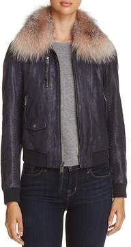 Andrew Marc Naples Fur Trim Leather Bomber Jacket