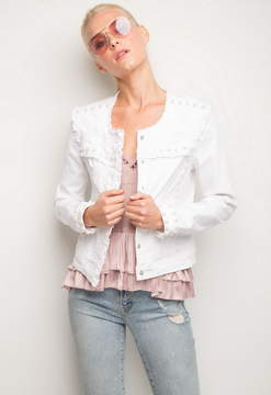 Generation Love Evie Pearls Distressed Jacket With Ruffle
