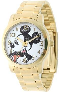 Disney Mickey Mouse Men's Casual Alloy Case Watch, Gold Bracelet
