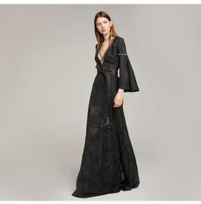 Amanda Wakeley   Black Long Chiffon Fil Coupe V-Neck Dress   L   Black