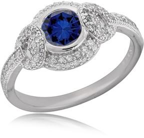 Crislu Bezel Set Blue CZ Pave Ring