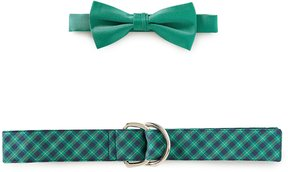 Class Club Bow Tie & Plaid Belt Set