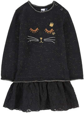 3 Pommes Bi-material sweater dress