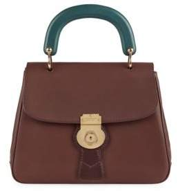 Burberry Two-Tone Leather Top-Handle Satchel - DARK CHOCOLATE - STYLE