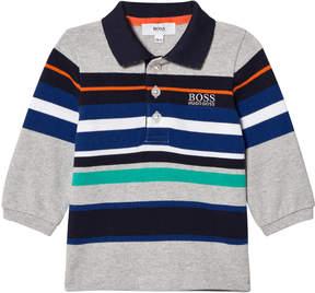 BOSS Grey Multi Stripe Long Sleeve Polo