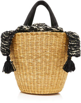 Muun Tasseled Canvas-Trimmed Crochet-Knit And Straw Tote