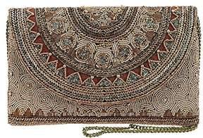 Mary Frances Kismet Bronze Beaded Rounded Flap Crossbody Envelope Clutch Handbag