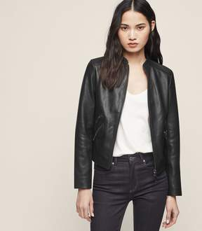 Reiss Thea Collarless Leather Jacket